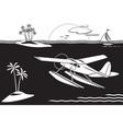 seaplane flying among islands in sea vector image