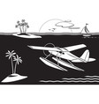 seaplane flying among islands in the sea vector image