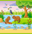 set with animals and nature in a children s vector image