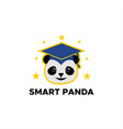 smart panda logo vector image