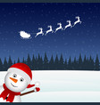 snowman escorts santa claus in the woods vector image