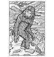 snowman or yeti engraved fantasy vector image vector image