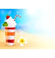 Strawberry creamy dessert cocktail on blurred vector image vector image