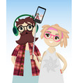 stylish young couple vector image