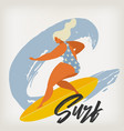 surfing girl on surf boards catching waves in vector image