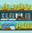 timber production horizontal banners vector image vector image