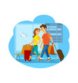 travelers couple with suitcases in city airport vector image