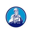 truck driver wearing mask transport circle mascot vector image