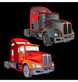 Two trucks on a black background vector image vector image