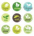 vegan icon set bio ecology organic logos and vector image