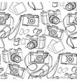 Vintage hand drawn cameras pattern vector image vector image