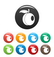 whole peach icons set color vector image