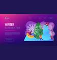 winter outdoor fun concept landing page vector image vector image