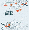 winter snowy landscape with branches of rowan tree vector image
