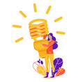 woman with fluorescent lamp in search of new vector image
