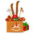 wooden box with winter attributes isolated vector image