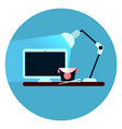 workplace icon desktop computer on desk web button vector image vector image