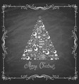 xmas tree made from chalk various elements vector image