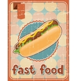 Fast food background with hot dog in retro style vector image
