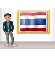 A boy with a framed flag of Thailand vector image vector image