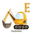 alphabet letter e excavator vector image vector image