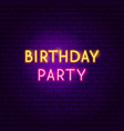 birthday party neon sign vector image vector image