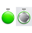 blank green glossy badge or button 3d render vector image