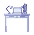 blue shading silhouette of work place office vector image vector image