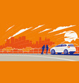 car panorama out town vector image vector image