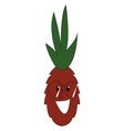 cartoon red pineapple with glasses illutsration vector image