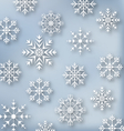Christmas blue wallpaper with set snowflakes vector image vector image