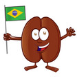 coffee bean cartoon with brazilian flag vector image vector image