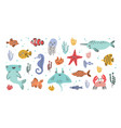collection of cute smiling marine animals vector image vector image