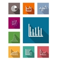 Color flat icons for various types of diagrams vector image