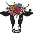 cow head with flowers color vector image