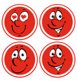 facial expressions on red badges vector image vector image