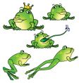 five frogs in different poses vector image vector image