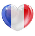 french flag heart vector image vector image
