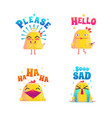 funny chicken doodle set vector image vector image