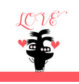 funny monsters are in love with hearts vector image