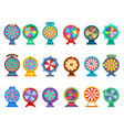 gambling wheels fortune game and luck betting vector image
