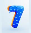 glazed donut font number 7 number seven form vector image vector image