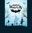 halloween funny background with bat and haunted vector image vector image