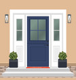 house door front with doorstep and mat steps vector image vector image
