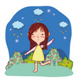 kid child outdoors cartoon vector image vector image