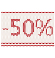 knitted 50percent sale design vector image vector image