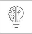 logo with a half of light bulb and brain isolated vector image