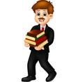 men in black suit with books cartoon vector image vector image