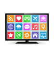 modern lcd smart tv with application icons vector image vector image
