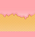 pink strawberry ice-cream melted on waffle vector image